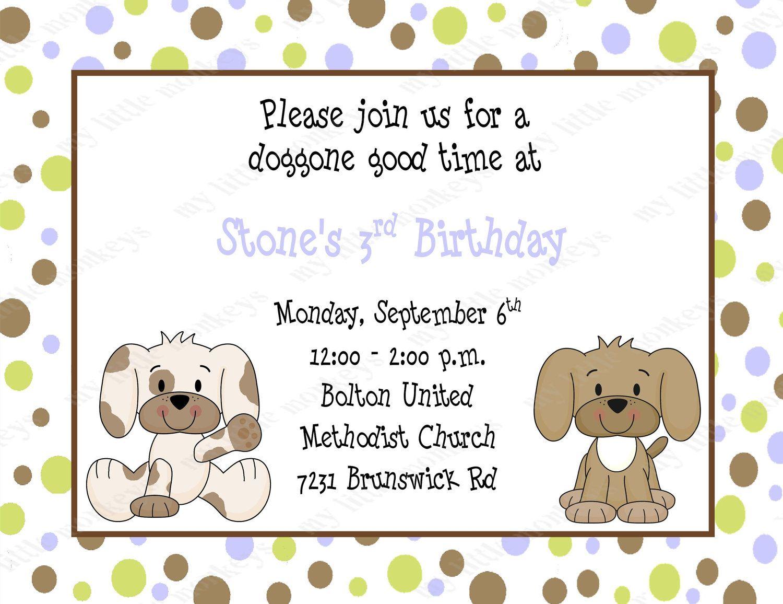 10 Puppy Birthday Invitations with Envelopes. Free Return Address ...