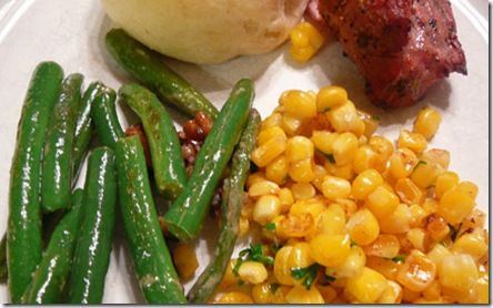 Thanksgiving Side Dishes – Caramelized Corn and Green Beans with Pecans and Blue Cheese