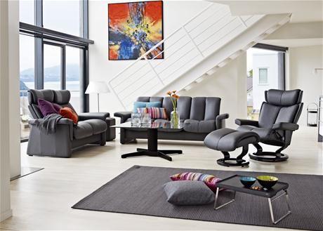JC Perreault Salon Contemporain Ekornes Collection Legend - Canapé 3 places pour decoration salon contemporain