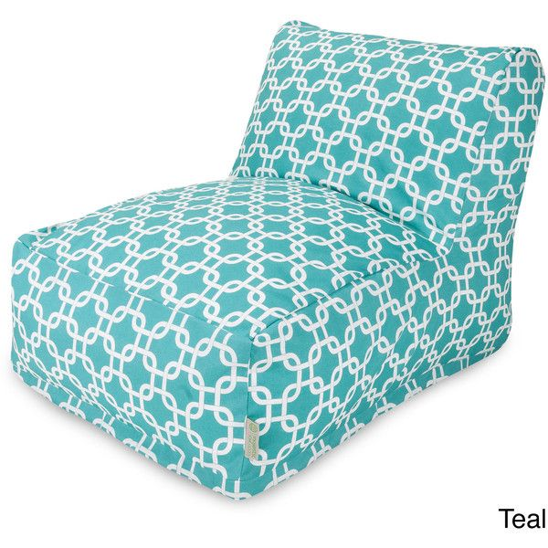 Majestic Home Goods Links Bean Bag Chair Lounger featuring polyvore, home, furniture, chairs, blue, slip cover chair, colored bean bags, blue chaise lounge, blue bean bag chair and blue chair