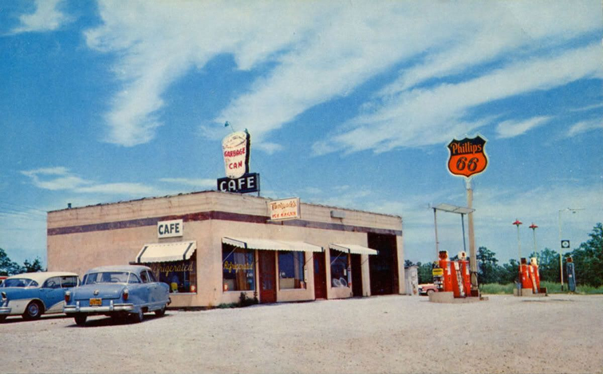 Garbage can cafe and lowerys phillips 66 station