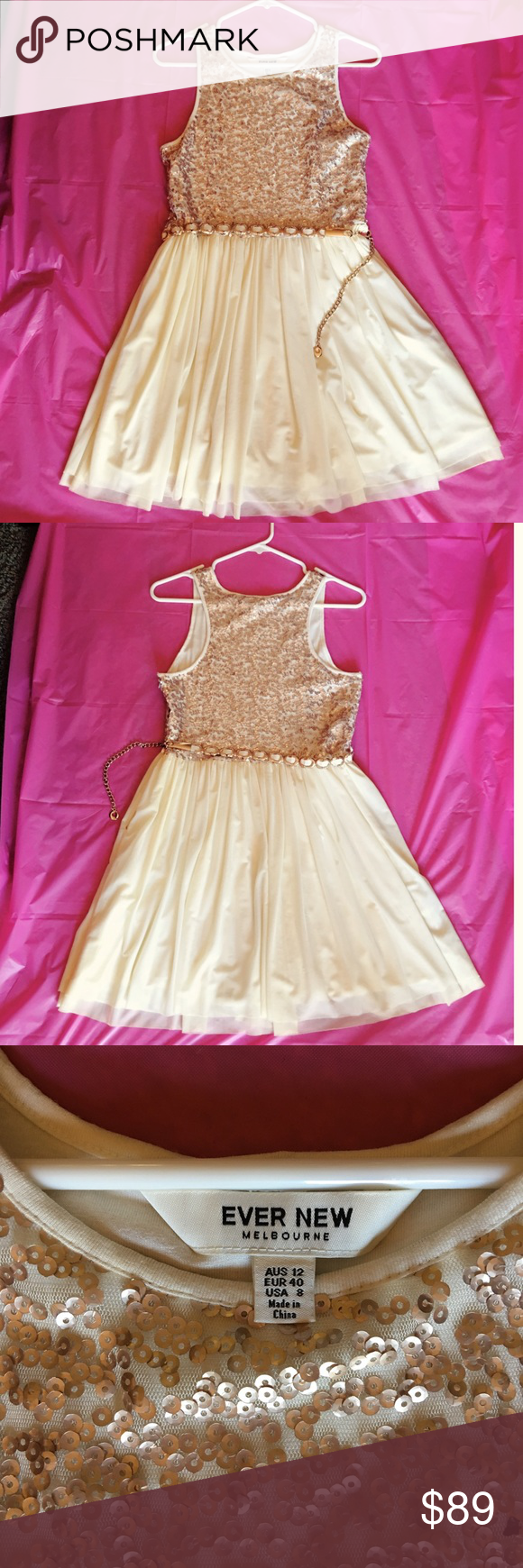 Ever new melbourne party dress evening dress white belt