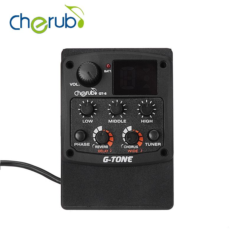 Cherub G Tone Gt 6 Acoustic Guitar Preamp Piezo Pickup 3 Band Eq Equalizer Lcd Tuner With Reverb Delay Chorus Wide Effects Acoustic Guitar Tuner Acoustic