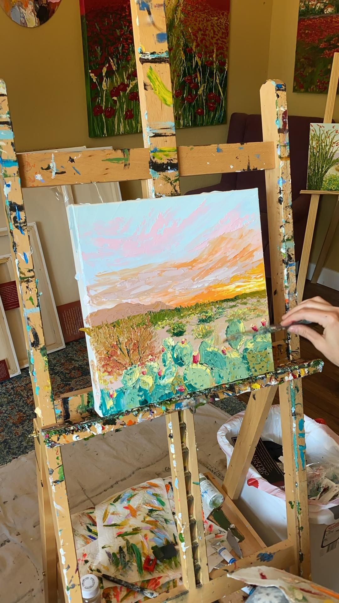 """#timelapse video of Tessa Nicole (@tessanicoleart) creating her original oil painting, """"Prickly Pear Parade"""". #paletteknife"""