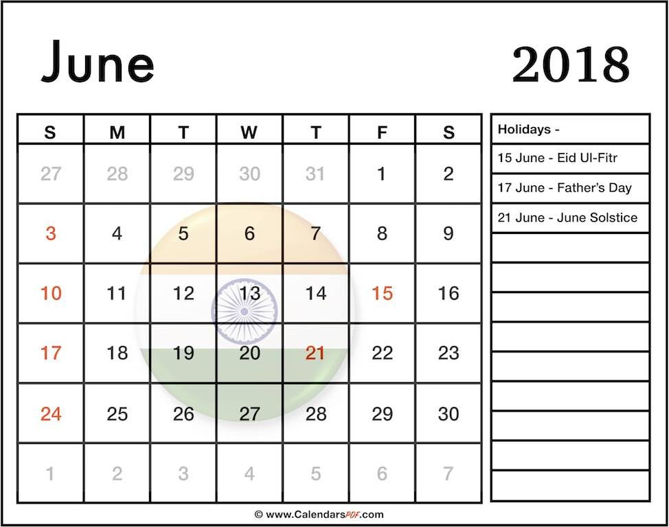 June 2018 Calendar With Holidays India Template Calendar