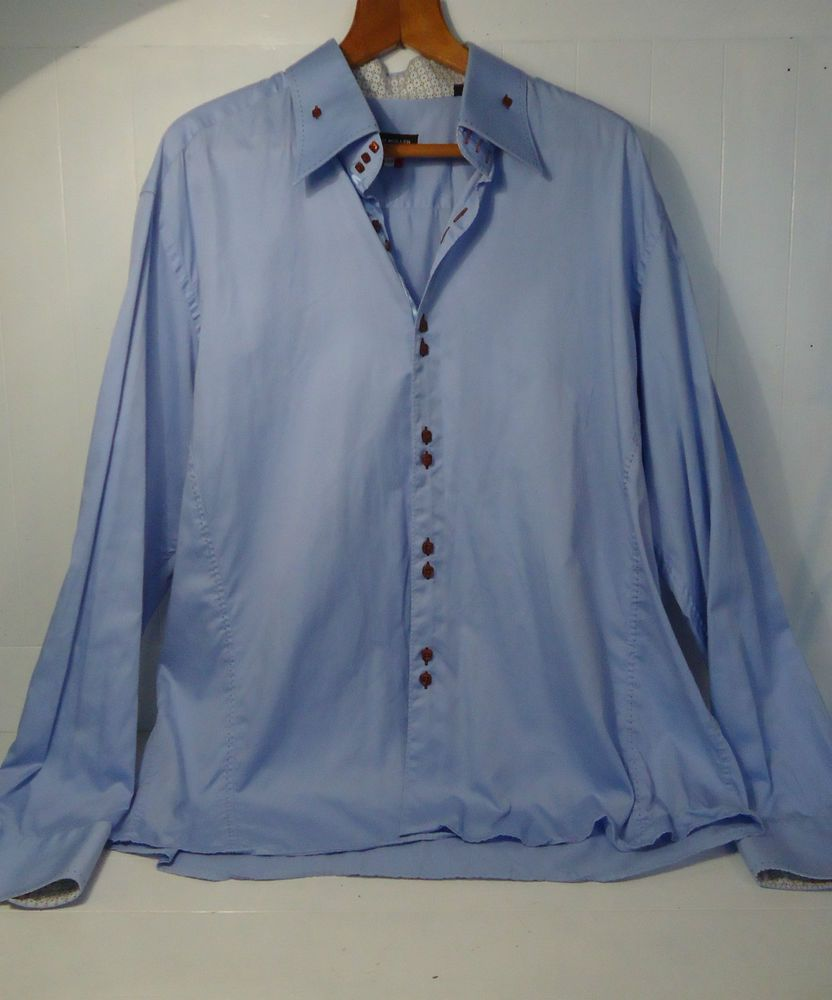 MEN S KURT MULLER 100% COTTON FORMAL DRESS SHIRT BLUE LONG SLEEVE 3XL