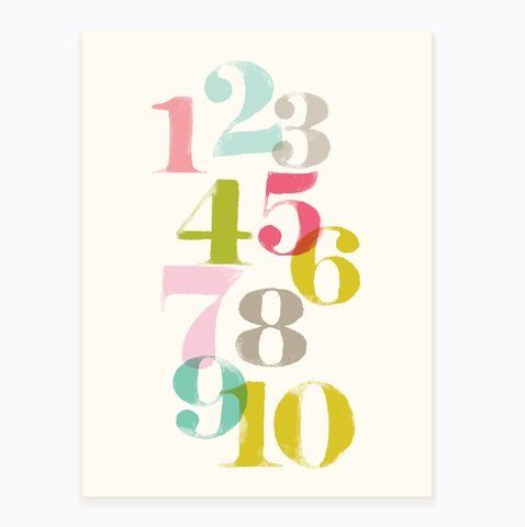 """Sea Urchin Studio Just Numbers Wall Art, Pink, 12"""" x 16"""". Poster size is 12""""x16"""". Printed in the USA on heavyweight cotton paper. Carefully packaged in cello sleeve with board backing. Made in the USA. Will fit a standard 16 x 20 frame, with a 12 x 16 mat opening."""