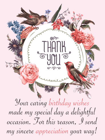 A Delightful Occasion Thank You Card For Birthday Wishes Birthday Greeting Cards By Davia Birthday Wishes Thank You For Birthday Wishes Birthday Wishes Flowers