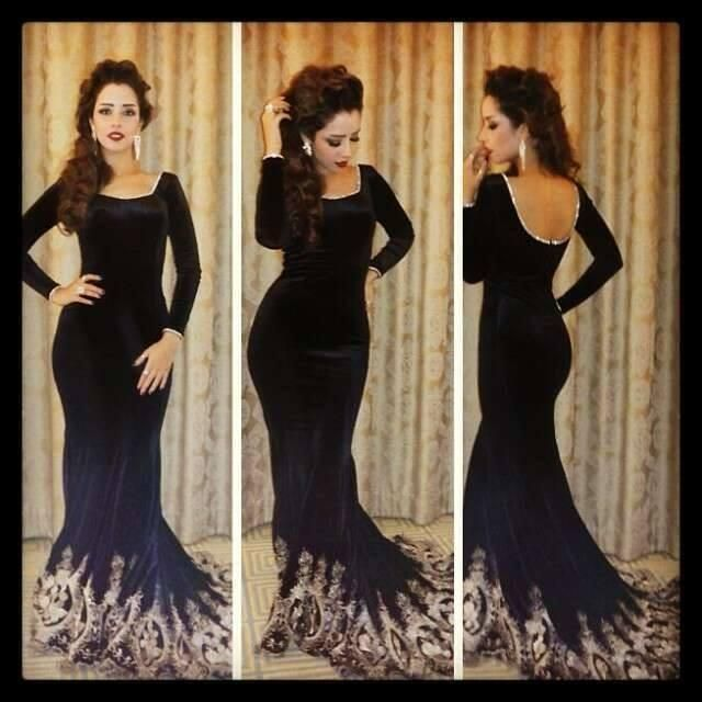 2015 Middle East Arabic Evening Dresses Mermaid Black Formal Square  Neckline Long Sleeve Prom Dresses Gold - Gorgeous Myriam Fares Mermaid Evening Dresses Lace Long Sleeves