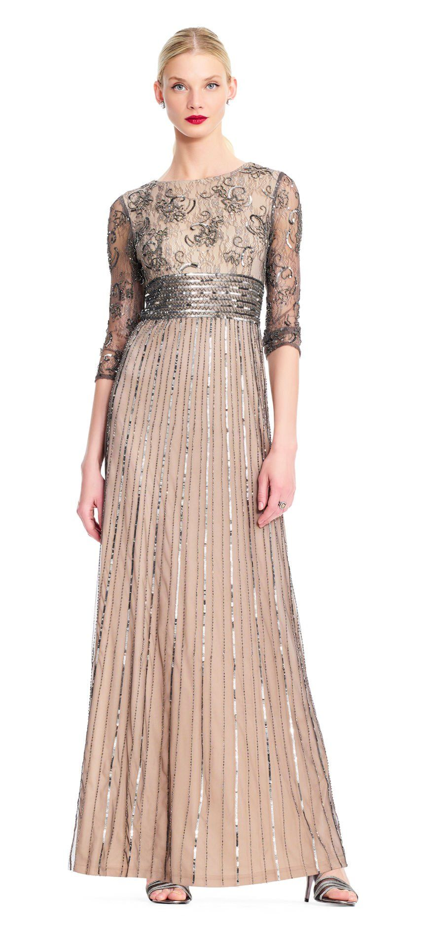 036fa9432f7 Three Quarter Sleeve Beaded Gown with Sequin Waist | Mother of bride ...