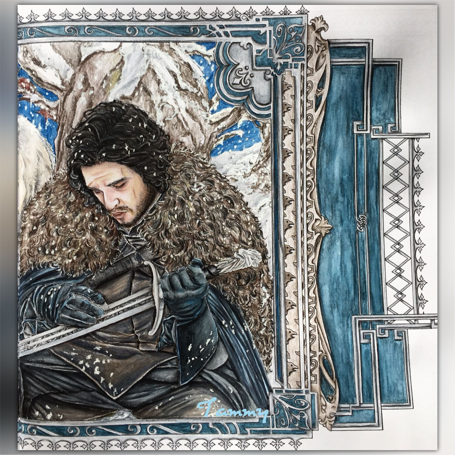 Jon Snow , coloring book Game of Thrones HBO - right page ...