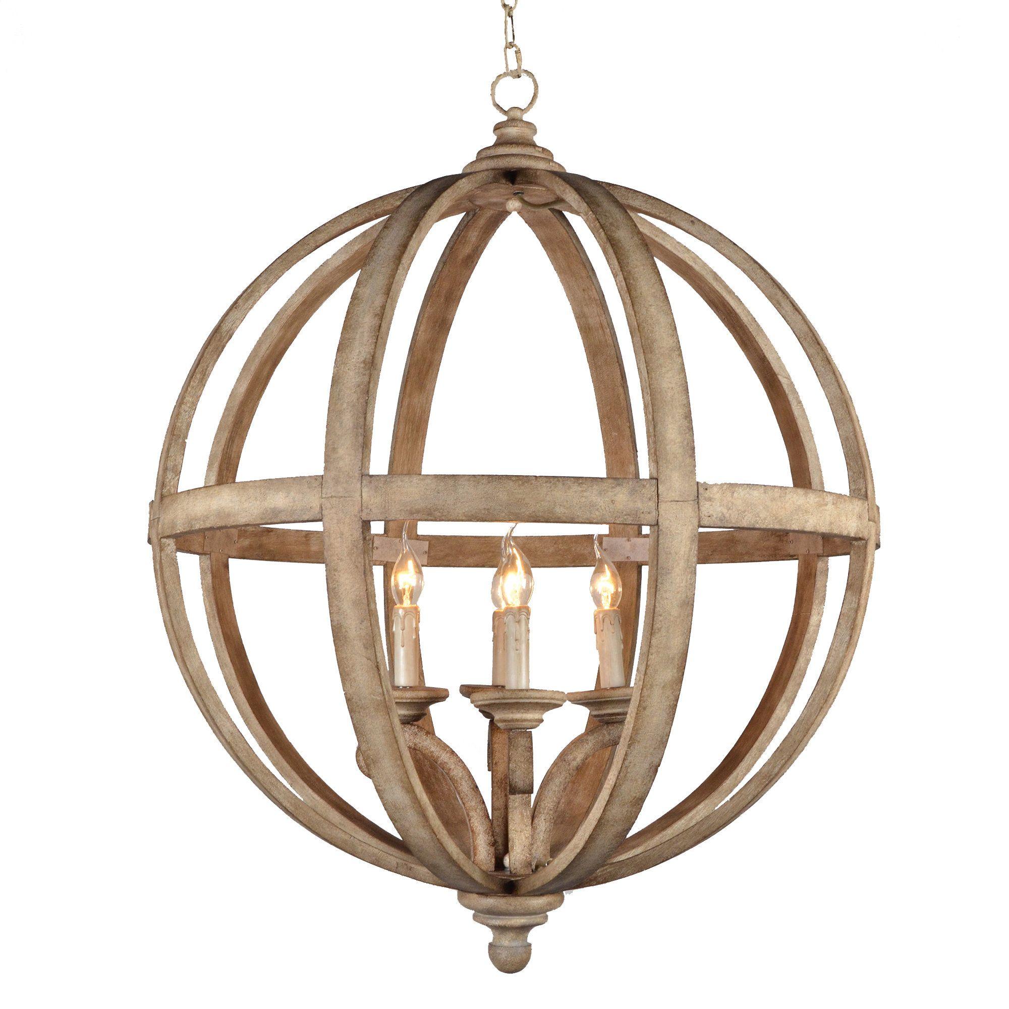 Y Decor Hercules 4 light Neutral Chandelier with Wooden Globe