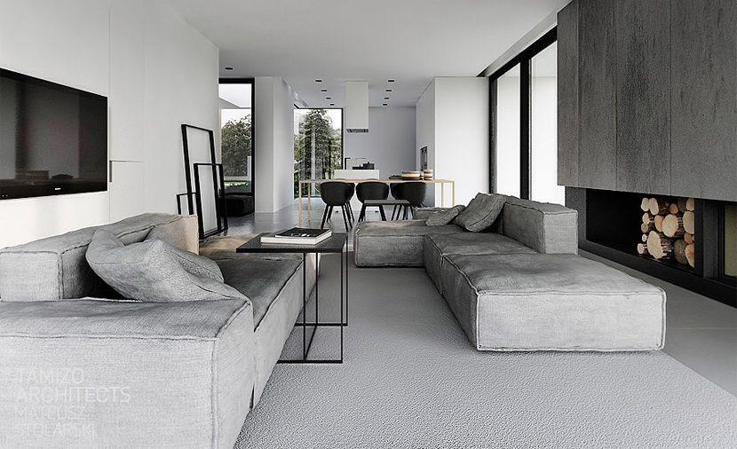 Strak interieur in mooie grijstinten  Modern living