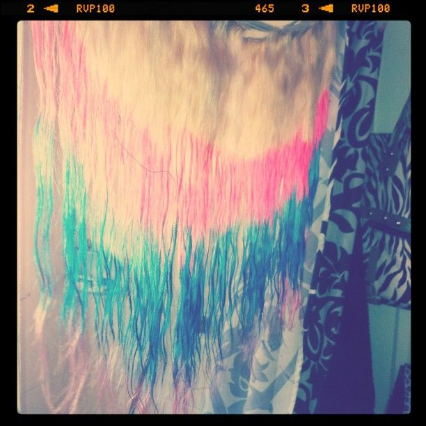 Dip dyeing extensions pink blue and purple #hair