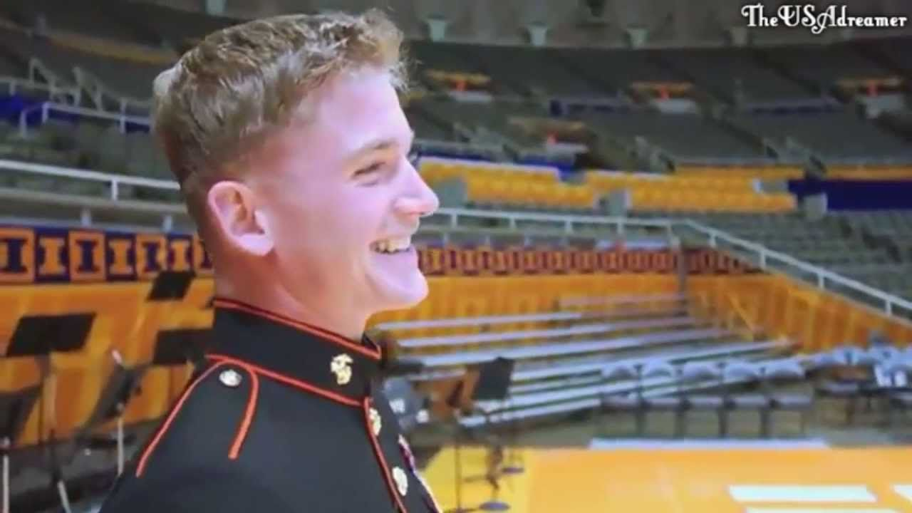 Marine Surprises Brother Basketball Practice
