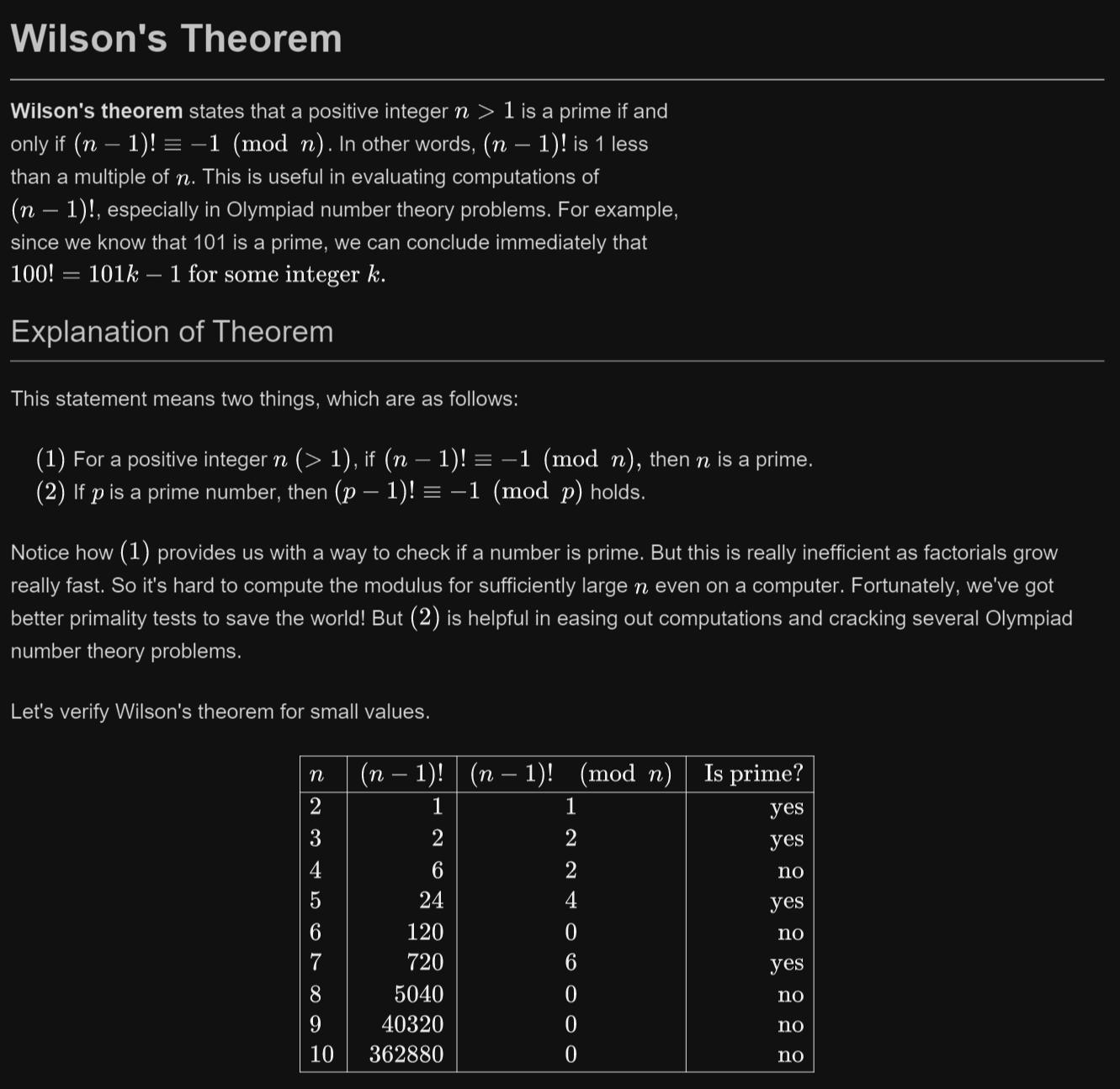 Wilson S Theorem