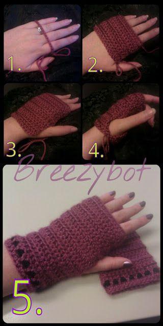 Breezybot Free Patterntutorial Fingerless Gloves Crochet