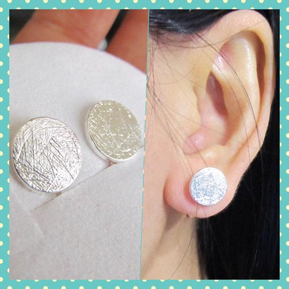 Brushed Silver Large Round Disc Stud Clip On Earrings C37s Simple Non Pierced Faux Gauge Earring Magnetic Alternative