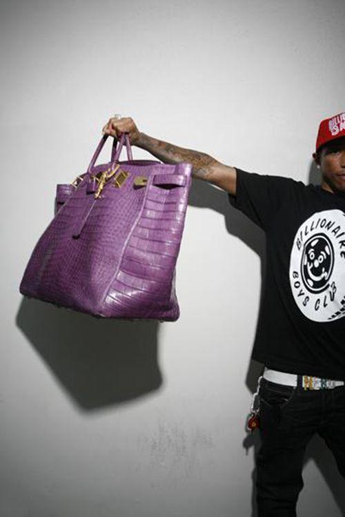 aa41dbc93e23 Pharrell with his purple Hermès HAC