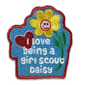 I LOVE BEING A GIRL SCOUT DAISY IRON-ON PATCH $2.50