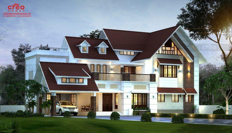 2490 Sq Ft Sloped Roof Single Floor Home Design