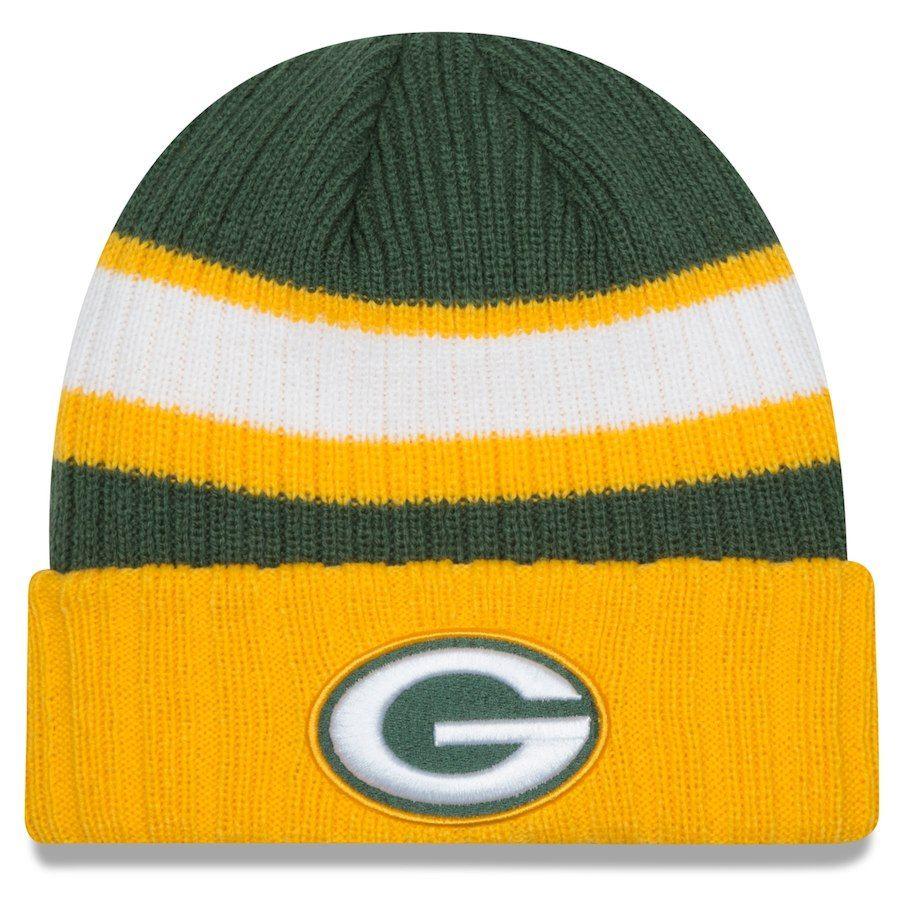 Men S Green Bay Packers New Era Green Rib Start Cuffed Knit Hat Knitted Hats Knitting Green Bay Packers Hat