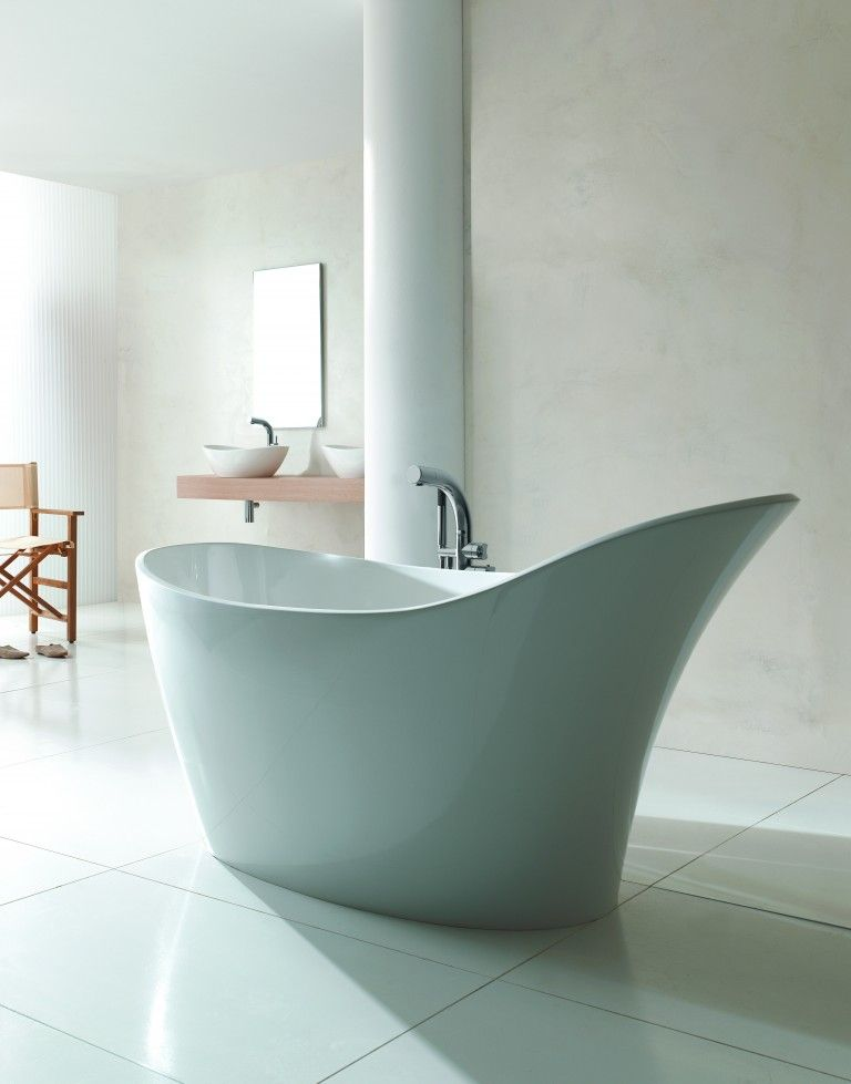 This freestanding bath from Victoria + Albert is made of gloss white ...