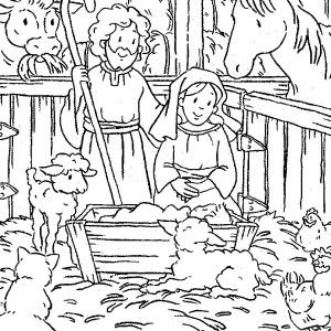 Animals Gather In Stable Where Jesus Was Born Bible Christmas Story Coloring Pages