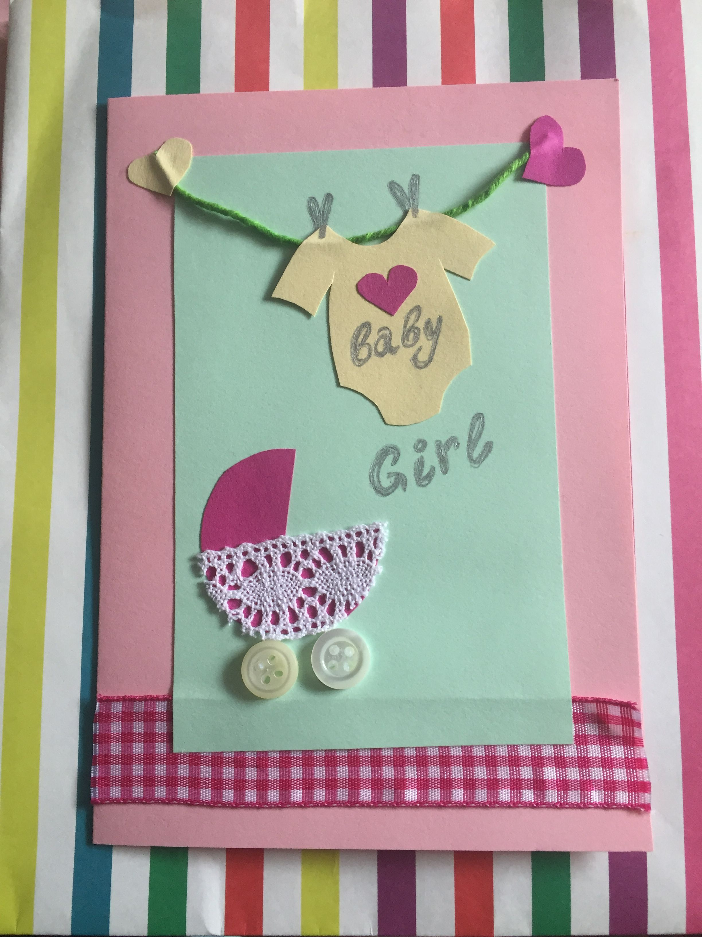 Baby Girl Card Suitable For New Born Baby Or Christening Occasions