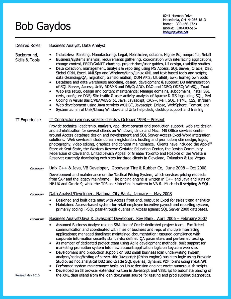 awesome High Quality Data Analyst Resume Sample from Professionals ...