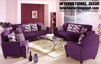 Room · Living Room Decoration With Purple ...