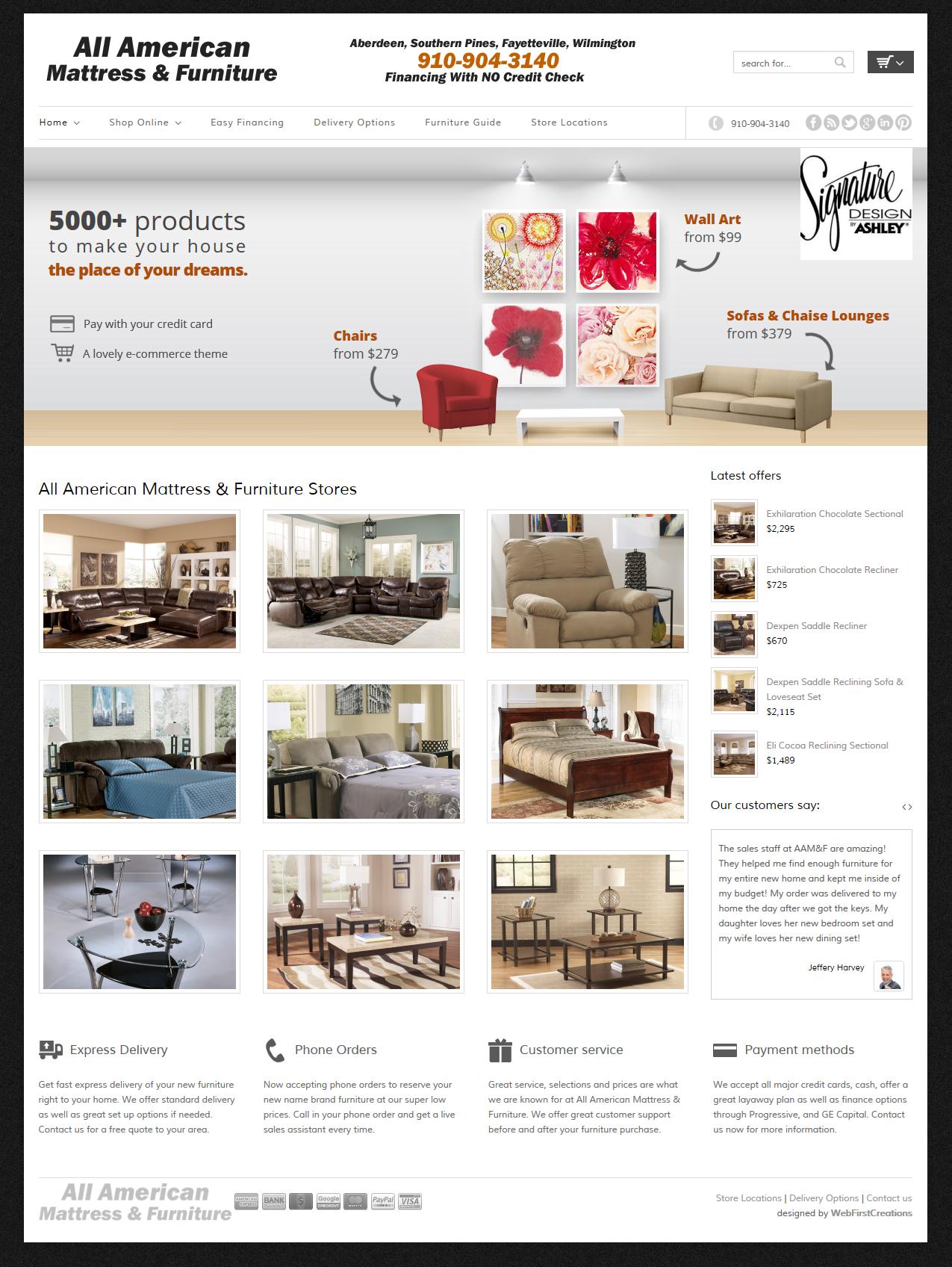 New shopping cart site for All American Mattress & Furniture of Aberdeen NC
