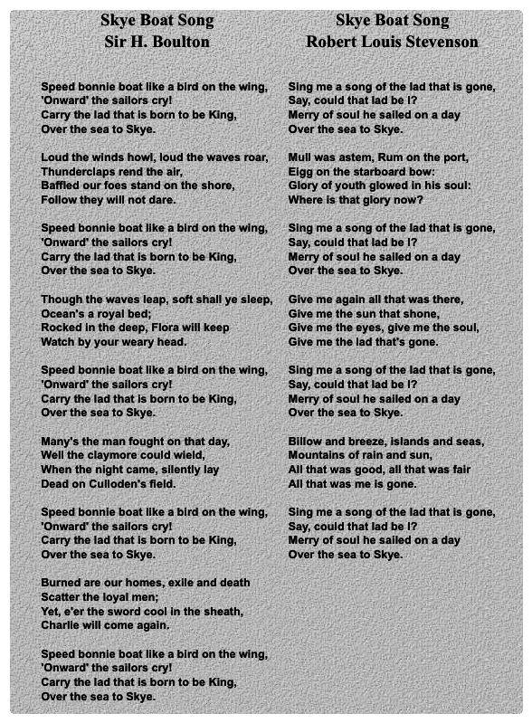 SKYE BOAT SONG ~ Sir Harold Boulton / Robert Louis Stevenson. Air ...