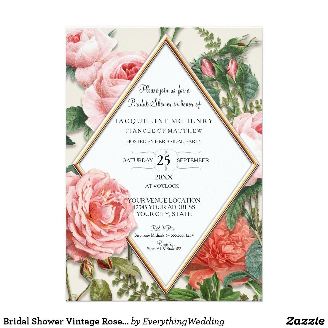 Bridal Shower Vintage Roses Floral Rose Gold Taupe Card
