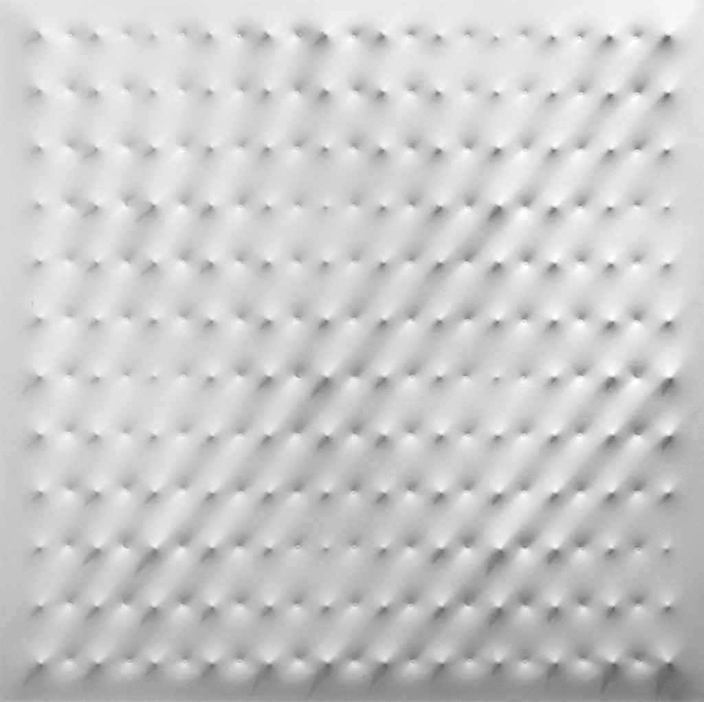 """Enrico Castellani [Italy] (b 1930) ~ """"White Surface"""". Acrylic and nails on canvas. 