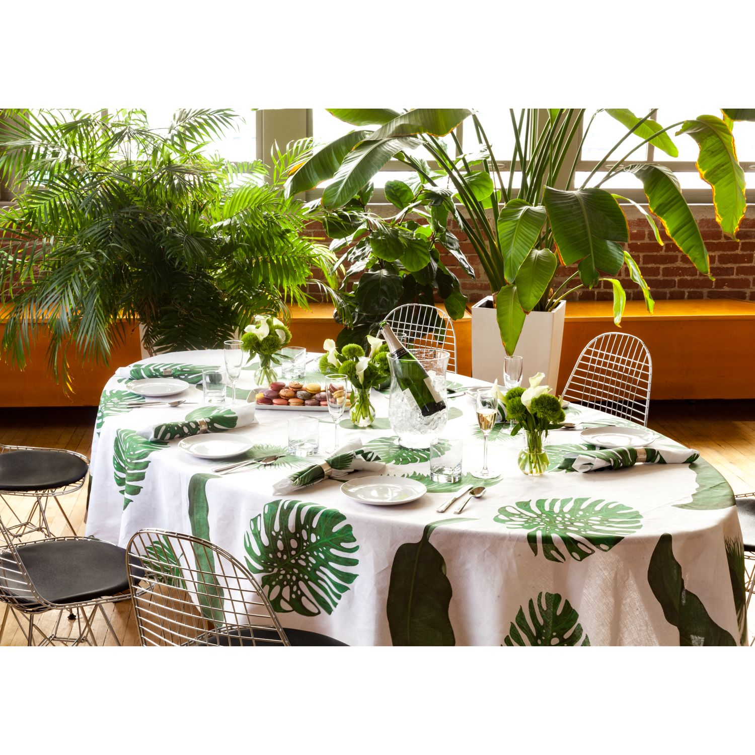 Tropical Leaves Oval Linen Tablecloth Table Cloth Leaf