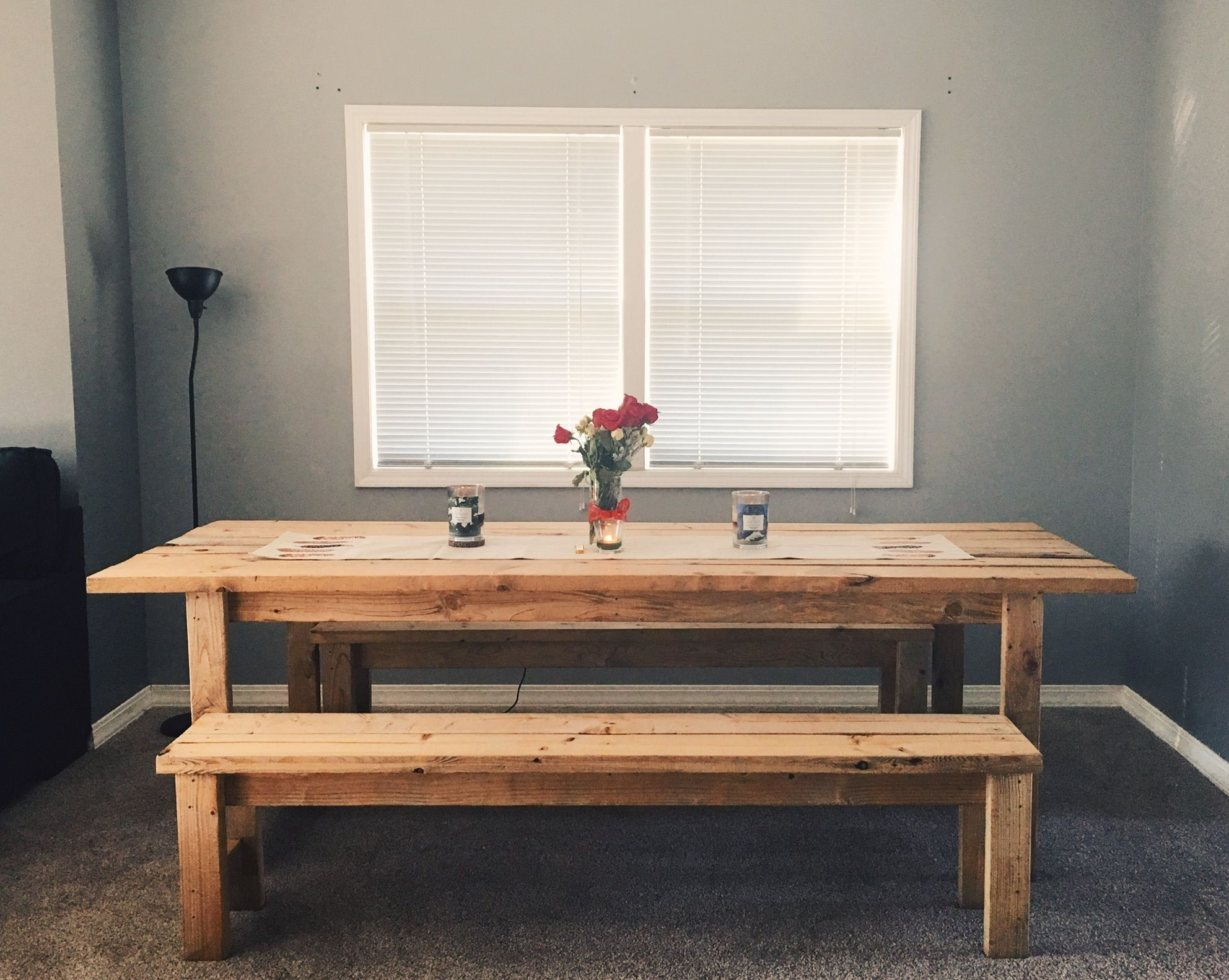 Ana White Farm table and two benches DIY Projects