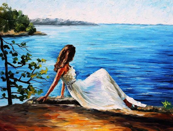 """Pintura decorativa - ángel blanco, Vestido blanco pintura al óleo de Leonid Afremov. Mujer arte de la pared, decoración de la pared Figura, tamaño: 40 """"X 30"""" pulgadas"""