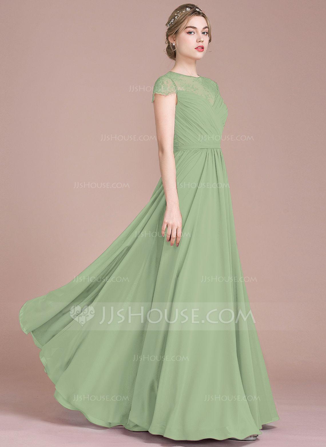 Us 144 00 A Line Princess Scoop Neck Floor Length Chiffon Lace Bridesmaid Dress With Ruffle Jj S House Bridesmaid Dresses Chiffon Lace Dresses [ 1562 x 1140 Pixel ]