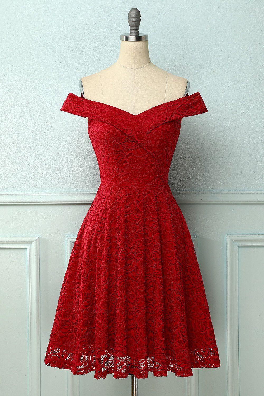Dark Red Off-shoulder Lace Dress
