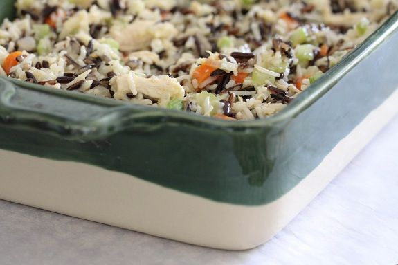 Cheesy Chicken & Wild Rice Casserole - cream of ____ soup free!