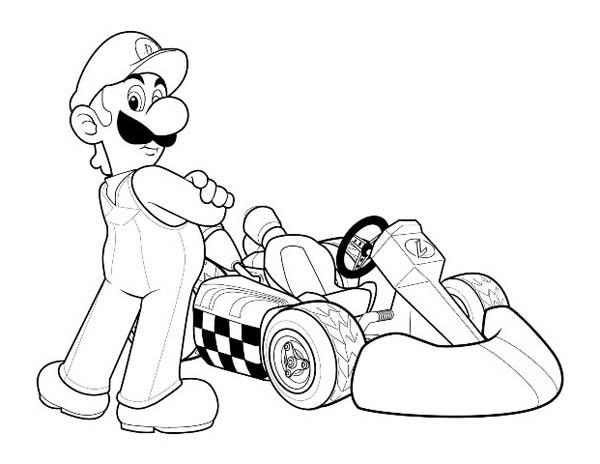 Super Mario Brothers Go Cart Coloring Page : Color Luna