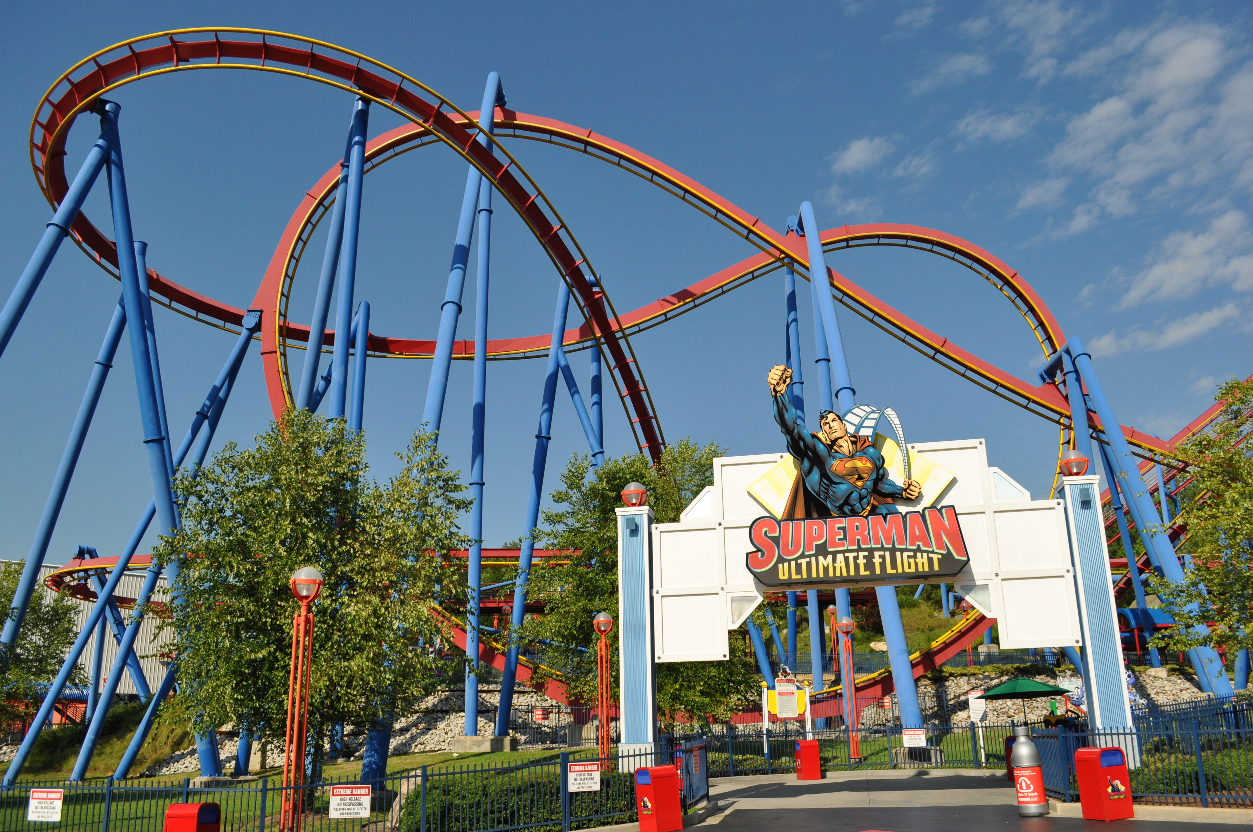 Superman Ultimate Flight Six Flags Over Ga Bolliger And Mabillard Steel Flying Theme Parks Rides Crazy Roller Coaster Roller Coaster Ride