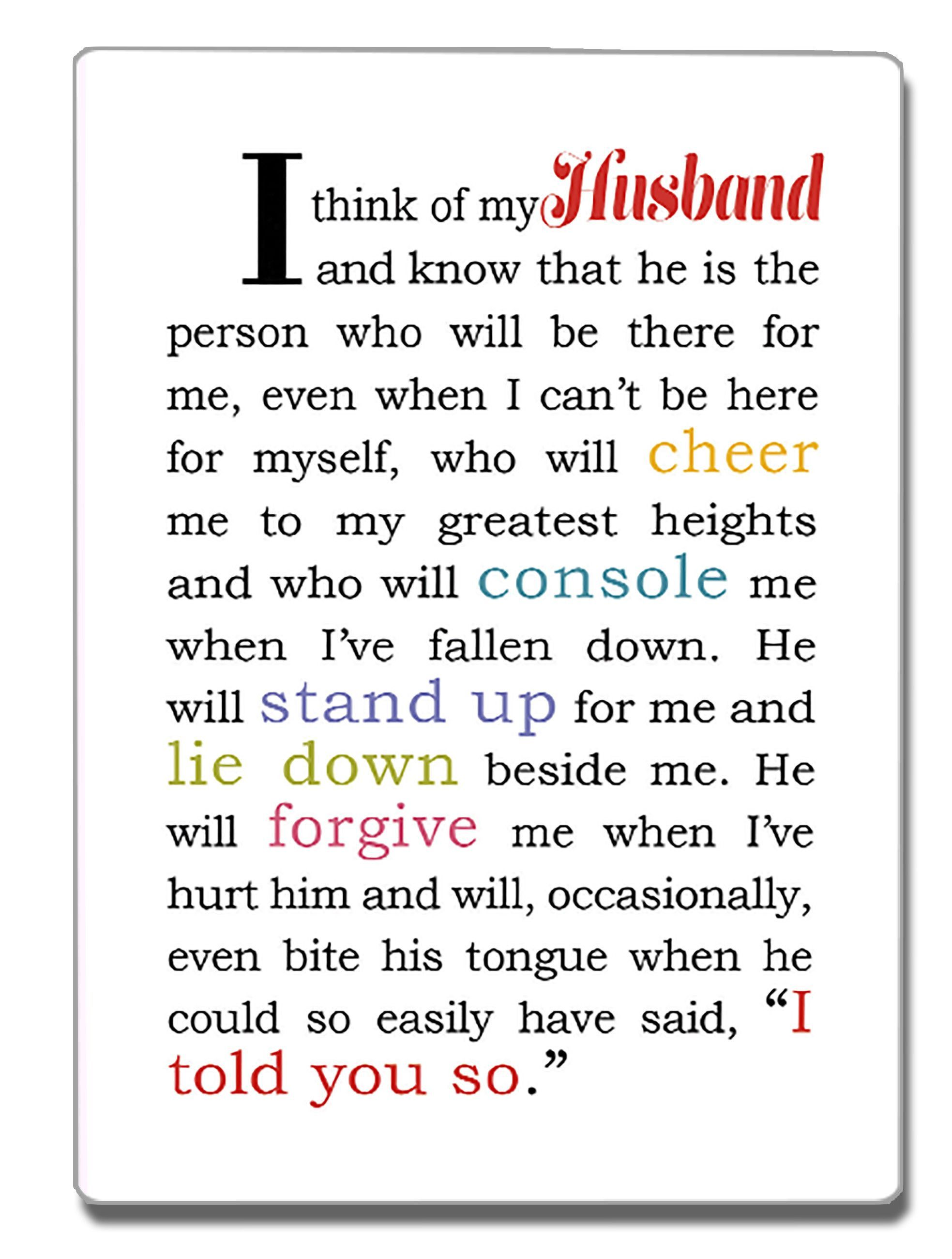 I Think of My Husband Refrigerator Magnet | Bff quotes