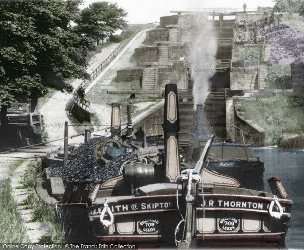 Bingley, Five Rise Locks c.1900. These locks were constructed in 1774 on the Leeds/Liverpool canal, which transformed the town of Bingley into an industrial centre. Along the canal are over 90 locks, but this is the most dramatic set, rising an amazing 59 feet. From top to bottom the passage of a barge takes 28 minutes. #Canals