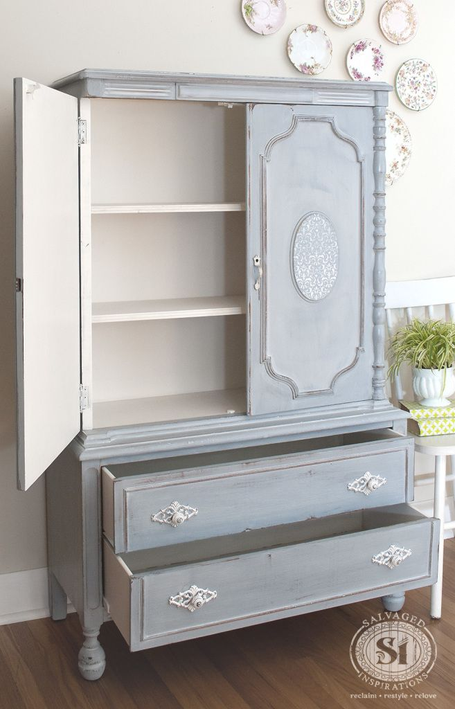 French Country Armoire Painted In MMS Shutter Gray | By Denise @ Salvaged  Inspirations