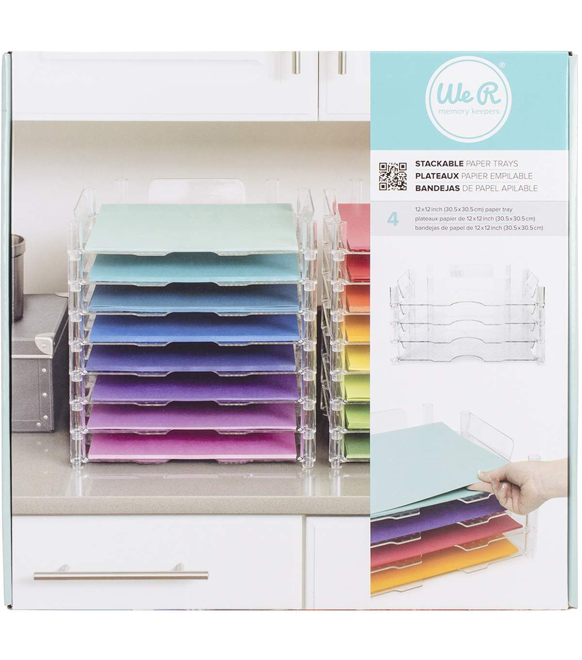 We R Memory Keepers 12 X12 Stackable Acrylic Paper Trays Clear Joann Paper Tray Construction Paper Storage Paper Storage