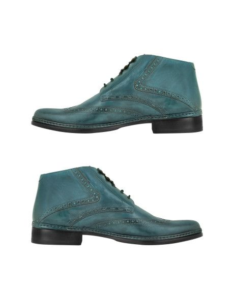 c3cbc1b67da8 Love this  Petrol Blue Handmade Italian Leather Wingtip Ankle Boots  Lyst