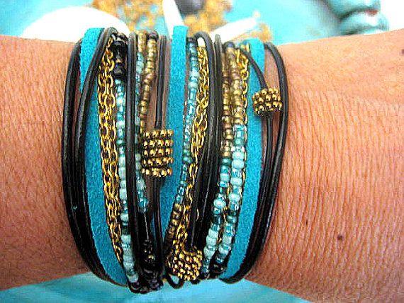 Boho Chic Endless Leather Wrap Chunky Beaded Bracelet Capri