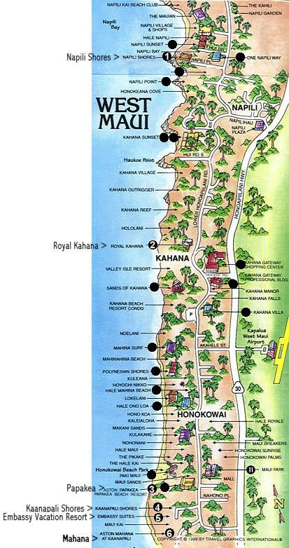 aston Kaanapali shores Hotel Map of Resorts  Map not to scale